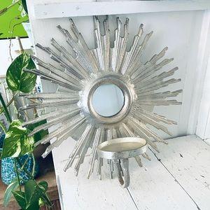 Silver Sun Sunburst Mirror Candle Holder Wall Hang